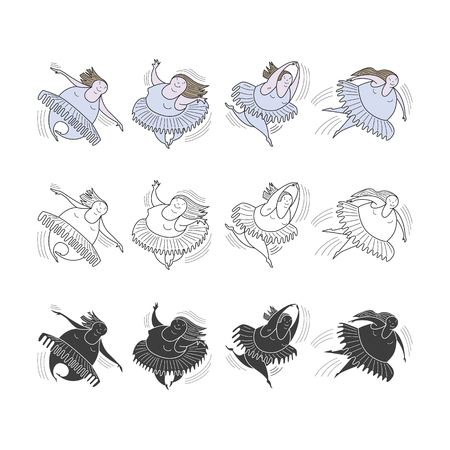 Ballerinas in motion. Comic, vector, color, line illustration. Illustration