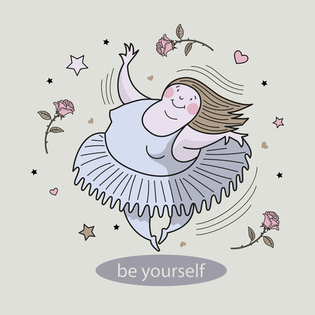 Ballerina in motion. Inscription: Be yourself. Comic, vector, color illustration.
