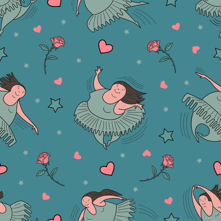Ballerinas in motion. Seamless pattern. Comic, vector, color illustration.
