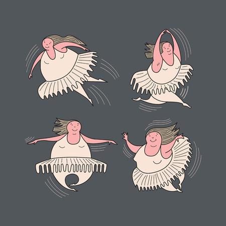 Ballerinas in motion. Comic, vector, color illustration.