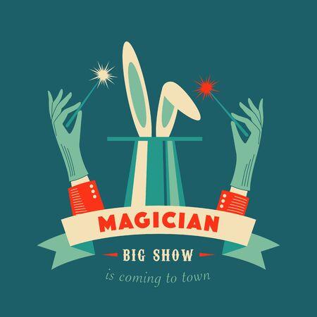 Magic show logo. Vector color illustration. Foto de archivo - 133507572