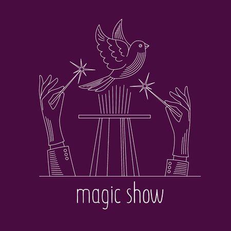 Magic show line icon. Vector illustration. Foto de archivo - 133507586