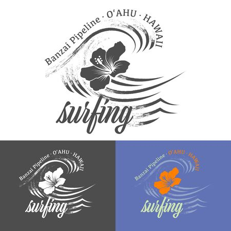 Banzai Pipeline, Oahu, Hawaii text with waves and flower. Color and monochrome vector illustrations. For t-shirt prints and other uses. 向量圖像