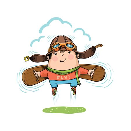 Happy jumping kid. Boy with wings, in pilot helmet and shirt with the inscription Fly! Humorous vector illustration.