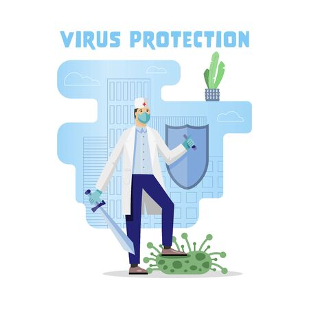 Virus protection. Fight against covid-19 corona virus. People fight virus concept. Stop epidemic. Flat vector illustration.
