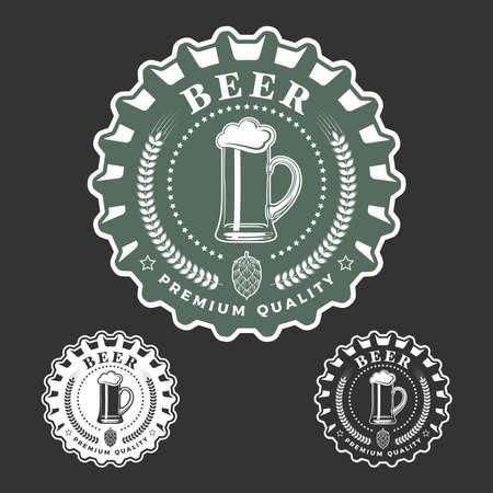 Beer emblem monochrome vector illustration. Vecteurs