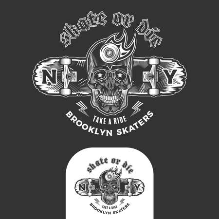 Skateboarding emblem with skull and skateboard. Print graphic and web design. Monochrome vector illustration.