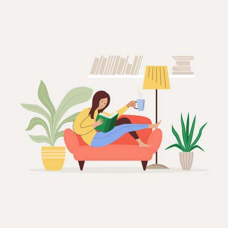 The girl is reading a book on the sofa. Life at home concept flat vector illustration.