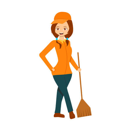 Cartoon flat janitor isolated on white. Design for poster, notebook, banner, wrapper, background. Cute smilling woman caretaker for your creative design