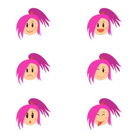 Cartoon funny girl emotion collection. Cute female face with different expression. Can be used for stiker, banner, card, poster and any design. Smiley set. Ilustração