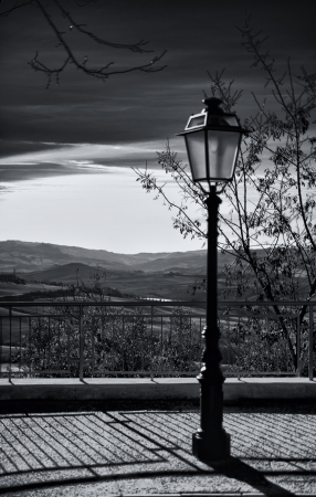 orcia: streetlight val d orcia Stock Photo