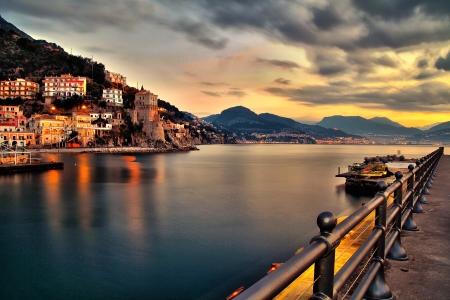 beack: tower Cetara Amalfy coast Stock Photo