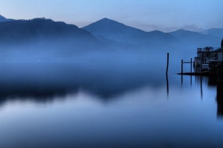 nebbia: Calma e tranquillit� sul lago di Orta al tramonto - Calm and quiet of a lake at sunset