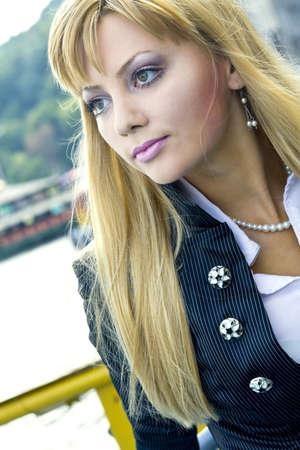 young girl on a walk on an embankment Stok Fotoğraf