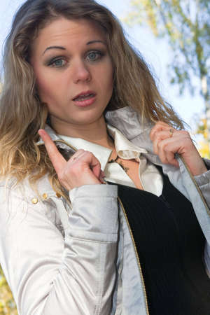 The young blonde warns hand gesture Stok Fotoğraf