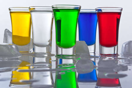 free stock photos: Still-life from five small piles from the glass, filledColour cocktails with reflexion and ice