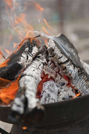 caldron: coals for preparation of meat