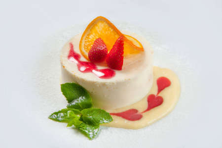 dessert with a strawberry and orange