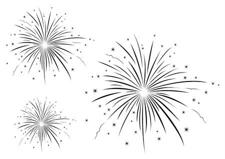 fuegos artificiales: Ilustración vectorial de fuegos artificiales en blanco y negro