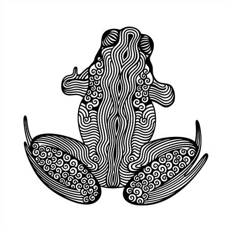 sapo: Ilustraci�n del vector de la rana abstracta sobre fondo blanco
