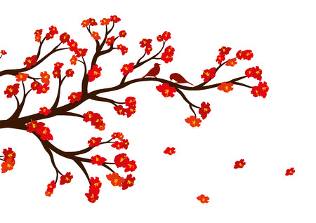 Vector illustration of blossom tree branch with red flowers on white background.