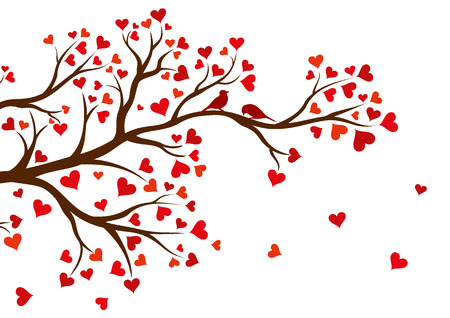Vector illustration of abstract Valentine tree branch with red hearts. Vector