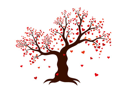Vector illustration of decorative abstract tree with red hearts on white background. Vector