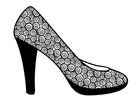 cinderella shoes: Vector illustration of decorative abstract shoe on white background Illustration