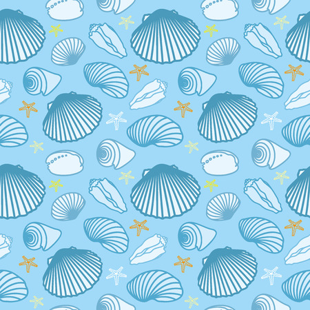 cockleshells: Illustration of sea shells and starfish. Seamless pattern. Vector set.
