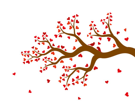 valentine tree: Vector illustration of abstract Valentine tree branch with red hearts