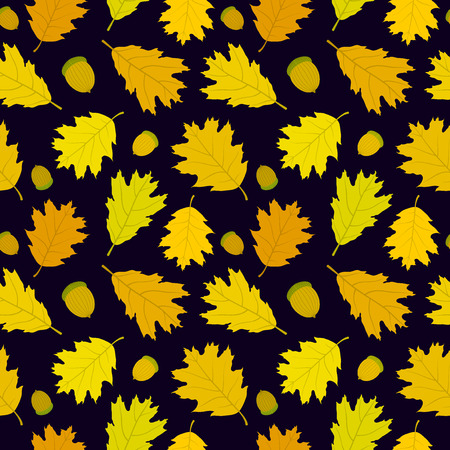 Autumn seamless pattern of Canadian oak39s leaves and acorns. Dark blue background. Vector