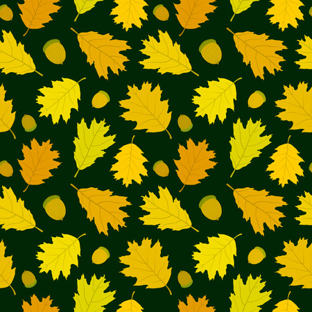 Autumn seamless pattern of Canadian oak39s leaves and acorns. Dark green background. Vector