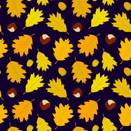 Seamless pattern of Canadian oak39s leaves acorns and chestnuts. Dark blue background. Autumn forest. Vector