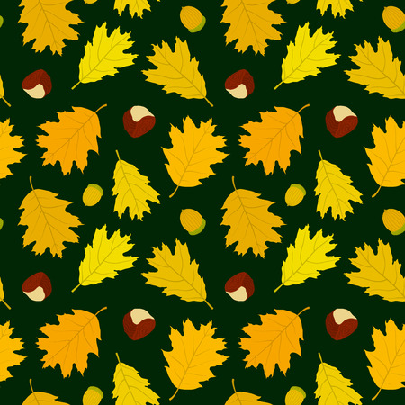 Seamless pattern of Canadian oak39s leaves acorns and chestnuts. Dark green background. Autumn forest. Vector