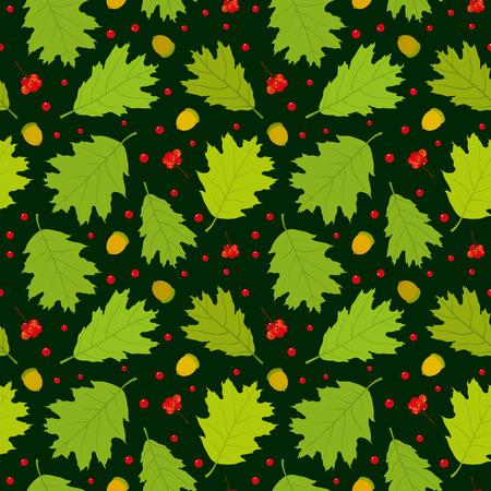 Seamless pattern of Canadian oak39s leaves acorns and rowan berries. Dark green background. Vector