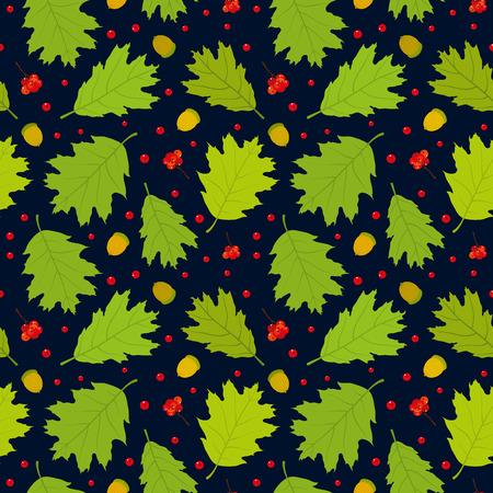 Seamless pattern of Canadian oak39s leaves acorns and rowan berries. Dark blue background. Vector