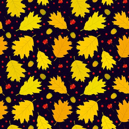 Autumn seamless pattern of Canadian oak39s leaves acorns and rowan berries. Dark blue background. Vector