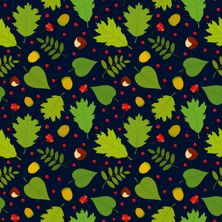 Seamless pattern with rowan berries leaves acorn chestnut. Vector set. Dark blue background. Vector