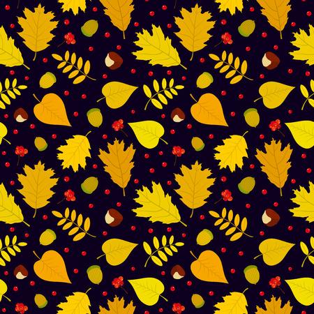 Autumn seamless pattern with rowan berries leaves acorn chestnut. Vector set. Dark blue background. Vector
