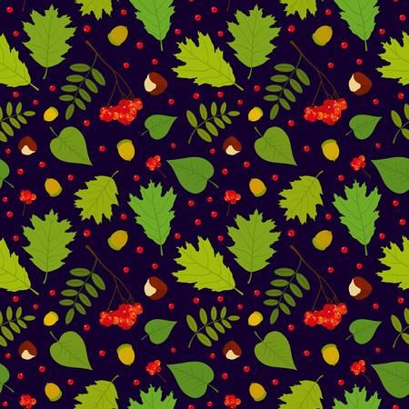 Forest seamless pattern with rowan berries leaves acorn chestnut. Vector set. Dark blue background. Vector