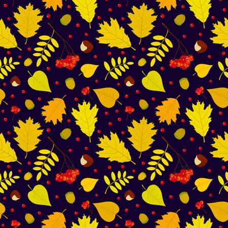 Autumn forest seamless pattern with rowan berries leaves acorn chestnut. Vector set. Dark blue background. Vector