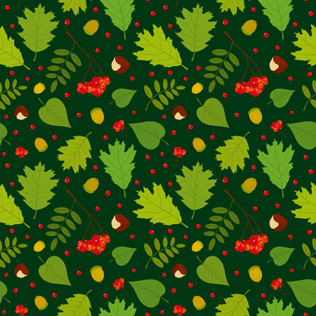 Forest seamless pattern with rowan berries leaves acorn chestnut. Vector set. Dark green background. Vector