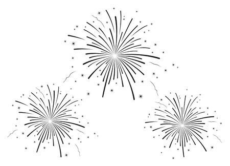 blanco: Ilustración vectorial de fuegos artificiales en blanco y negro