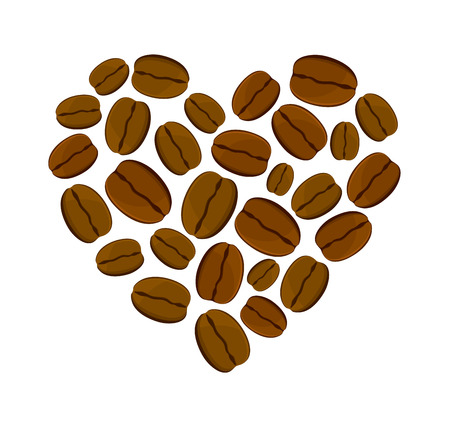 coffee beans isolated: Vector illustration of heart of coffee beans isolated on a white background