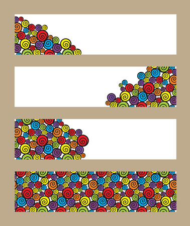 helix border: Vector banners set with colorful swirls. Illustration