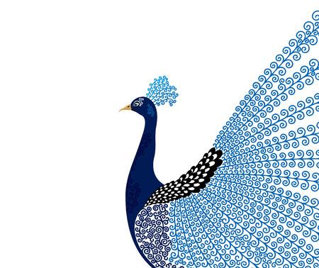 抽象的な様式化された孔雀のグリーティング カード。招待状。ベクトル図