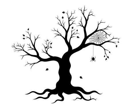 Halloween tree and spider web. Vector illustration.