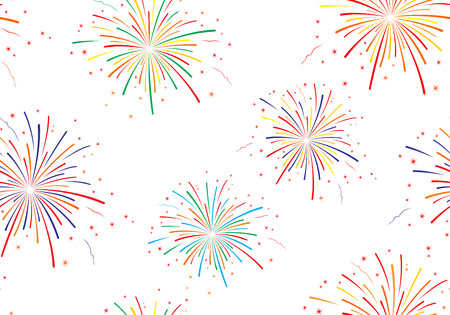 Vector illustration of fireworks on white background. Seamless pattern. Illustration