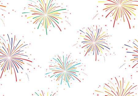 Vector illustration of fireworks on white background. Seamless pattern. Ilustração