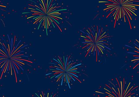 Vector illustration of fireworks on blue background. Seamless pattern.